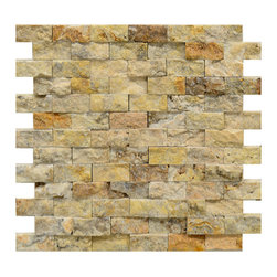 STONE TILE US - Stonetileus 4 pieces (4 Sq.ft) of Mosaic Tile 1x2 Antique Blend Split Face - Mosaic Tile 1x2 Antique Blend Split FaceFree shipping.. Set of 4 pieces, Covers 4 sq.ft.