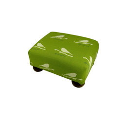 Lava - Birds Footstool - Upholstered footstool with wooden bun feet and polyurethane foam fill. Measures 15 x 12 x 7. Spot clean only. Handcrafted in USA.