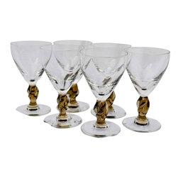 "Brown Port Glasses - Set of 6 vintage tawny brown port or sherry glasses. 5""h x 3""w"