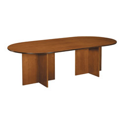 """Hon - Basyx 96"""" X-Base Veneer Conference Table - There probably won't be dancing on the table at your next meeting, but there could be with this sturdy and stately oval conference table. Two X-shaped bases form the pedestals and the 8-foot-long tabletop offers plenty of space for you and your backup dancers to sit and plan your next moves."""