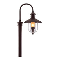 Troy Lighting - Troy Lighting Old Town Outdoor Post Lantern X-BN4639P - From the Old Town Collection, this Troy Lighting outdoor post lantern light features a large gooseneck frame with a classic lantern, all of which has been accentuated by a dark Natural Bronze finish. For added appeal, the combination of hand forged and cast iron construction has been paired with a clear seeded exterior and amber cylinder interior, both of which compliment the classic styling and subtle historic nuances.