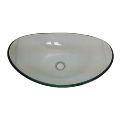 Flotera - Modern Contemporary Home Bathroom Willowing Wave Oval Clear Tempered Glass Sink - Update your bathroom with a unique, urban oval shaped vessel sink. This bowl raises higher at each horizontal end and the length steeps lower. This provides for more surface area and a larger sink space.