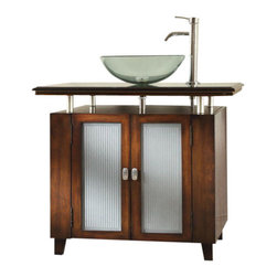 "Benton Collection - 37"" Modern Style Moderno Bathroom Sink Vanity Cabinet Model Q077-3Bn - Dimensions: 37 x 20.5 x 31""H."