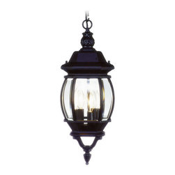 Livex Lighting - Livex Lighting 7527 3 Light 180W Outdoor Pendant with Candelabra Bulb Base and C - 3 Light 180W Outdoor Pendant with Candelabra Bulb Base and Clear Beveled Glass from Frontenac SeriesProduct Features: