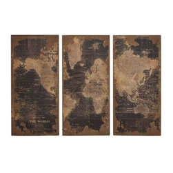 Benzara - Assorted Map Wood Wall Panels Set of 3 - Assorted Map Wood Wall Panels Set of 3. Turn your home into a global village with this beautiful wood wall panel set. Each panel comes in the same size, with dimensions of 22 (W) x 2 (D) x 47 (H). Some assembly may be required.
