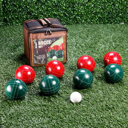 Franklin - Franklin Expert 113mm Bocce Set Multicolor - 3720/04 - Shop for Backyard Games from Hayneedle.com! Crafted with the expert in mind the Franklin Expert Bocce Set sports a professional look and feel. Perfect for any athlete the classic red and green balls are made of durable resin. Bocce Ball Materials and SizesResin is the most popular material for bocce balls and will withstand frequent use better than other materials. Molded plastic is best for children or for beginners and can be somewhat softer although still very durable. A bocce ball that is smaller than 100mm is typically best for children or for beginners. This size is easiest to handle and toss. Tournament balls will range between 107mm and 115mm. The International Standard ball is 107mm (4.2 inches) and weighs 920 grams (2 lbs.). The occasional backyard player will most likely appreciate a size somewhere between 100mm and 110mm.