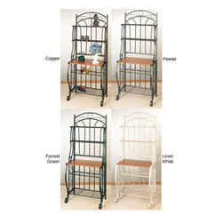 Old Dutch - Metal Baker's Rack and Wine Rack - Add some style to your kitchen with this classic metal wine rack from Bakers. Display your finest wine in its upper shelf or store bottles away at the bottom. Constructed with a metal frame,this rack is available with an attractive wood finish.