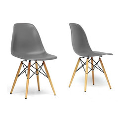 Baxton Studio - Baxton Studio Azzo Grey Plastic Mid-Century Modern Shell Chair -Set of 2 - The retro simplicity of this classic grey modern shell chair will instantly enhance the modernity of your room. Each of these mid-century modern dining chairs is made from durable molded plastic with an ergonomically-shaped and curved seat. The legs are wooden and include steel hardware in black as well as grey plastic tips to protect sensitive flooring. To clean, wipe with a damp cloth.  This item is made in China, and assembly is required.  This item is also available in black, red, or white arm chairs or side chairs (each sold separately).