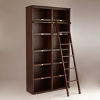 World Market - Augustus Library Bookshelf - Sturdy and substantial, our Augustus Library Bookshelf makes an impressive display unit for books and other collectibles. Crafted of espresso-finished solid rubberwood with veneer, it houses six shelves and can be fitted with a ladder, sold separately.