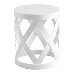 Modern White Warwick Round Accent Table - *Warwick Table