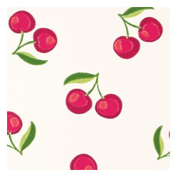 Serena & Lily - Cherry Wallpaper White - So perfectly retro on a backdrop of pure white, these cheeky cherries (in juicy shades of red, with a dash of pink and two-toned green) look just like a watercolor. And to make sure every artful detail comes through in the printing, we partnered with one of the country 's most historic wallcovering manufacturers.