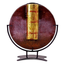 Bronze Age - Gold and Brown Round Fused Glass Vase Display - This gorgeous Gold and Brown Round Fused Glass Vase Display has the finest details and highest quality you will find anywhere! Gold and Brown Round Fused Glass Vase Display is truly remarkable.