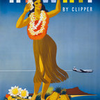 Hawaii by Clipper Ship Print - This 1950's travel poster promotes Hawaii, and focuses on surfing. It shows a man and a woman on surf boards in the foreground, with people on a wave in the distance. Travel Hawaii - surf's up!