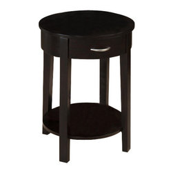 Jofran - Jofran 1028-7 18 Inch Round Chairside Table with Drawer and Shelf - Complete your contemporary living space with this chic round chairside table. A single drawer and shelf provide convenient storage, and the round shape adds a slight feminine appeal. Clean block legs heighten the sleek appearance, further enhanced by the Dark Merlot finish. Warm and rich, with a contemporary look, this round chairside table is a perfect match for your modern or casual home.