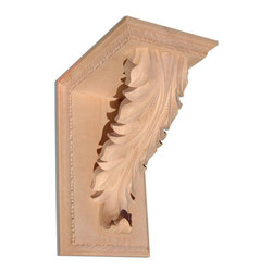 "Inviting Home - Melbourne small shelf bracket - Maple - Shelf bracket in hard maple 8-1/4""H x 6-3/4""D x 5""W Corbels and wood brackets are hand carved by skilled craftsman in deep relief. They are made from premium selected North American hardwoods such as alder beech cherry hard maple red oak and white oak. Corbels and wood brackets are also available in multiple sizes to fit your needs. All are triple sanded and ready to accept stain or paint and come with metal inserts installed on the back for easy installation. Corbels and wood brackets are perfect for additional support to countertops shelves and fireplace mantels as well as trim work and furniture applications."