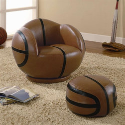 Coaster - Kids Small Basketball Chair and Ottoman - Casual style. Chair with shapely rounded arms. Padded seat back with rounded base. Oval shaped ottoman. Brown color. Chair: 24.75 in. W x 26 in. D x 19.5 in. H. Ottoman: 14 in. L x 13.38 in. W x 8.5 in. H. WarrantyIf your child has a love for sports, then this chair and ottoman will make a perfect addition to their bedroom or playroom! This small kids basketball chair with ottoman set will create a fun, exciting, and unique look that friends will admire.