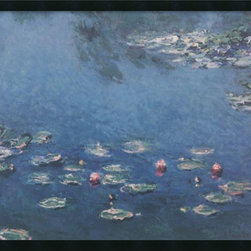 Amanti Art - Waterlillies Framed with Gel Coated Finish by Claude Monet - Water lilies became Monet's favorite motif in his twilight years. The shimmering quality of his brushstrokes remain one of the most captivating qualities in his work-a perennial best seller.