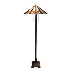 """Lamps Plus - Arts and Crafts - Mission Western Sunset Tiffany Style Floor Lamp - The Western Sunset floor lamp is inspired by turn-of-the-century craftsman and mission style design. The hexagonal shade is constructed from hand-cut pieces of stained glass with warm tones set against a smooth white background. A cast metal square zinc base is in an elegant bronze finish. Dual pull chains control the two lights. Zinc metal construction. Bronze finish. Tiffany style glass shade. Takes two 60 watt bulbs (not included). 61"""" high. Shade is 21"""" wide. Base is 10"""" square.  Zinc metal construction.    Bronze finish.   Tiffany style glass shade.   Takes two 60 watt bulbs (not included).   61"""" high.   Shade is 21"""" wide.   Base is 10"""" square."""