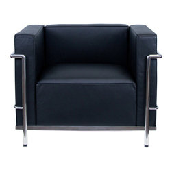"""IFN Modern - Le Corbuiser LC3 Stlye Armchair - Italian Black - The original Le Corbusier armchair collection was designed for the prestigious Maison La Roche house in Paris, France in the year 1928. This design is a modernist take on the traditional club chair. This collection varies in a smaller version known as the LC2 and a larger version known as the LC3 which is considered to be more functional for practical living purposes. Exceptional in comfort, Le Corbusier often thought of his pieces as """"cushion baskets."""" intriguing quality of the LC2 is the externalized metal frame which offers support to the base and extends as the legs and runs the entire length of this beautiful piece. The LC2 is not only attractive in a forward facing view- the metal frame work extends into design detail from the sides and back as well allowing for placement in any given area of a room. This is a quality, highly detailed reproduction of the original Le Corbusier LC3 Style Arm Chair.                          Overall Dimensions: 24.4"""" H x 38.9"""" L x 28.7"""" D"""