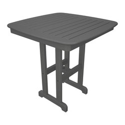 Polywood - Nautical Square Counter Table in Slate Gray - This table adds height and beauty to your outdoor dining area. Lumber provides the look of painted wood without the maintenance. Polywood lumber requires no painting, staining, waterproofing, or similar maintenance. Polywood lumber does not splinter, crack, chip, peel or rot and it is resistant to corrosive substances, insects, fungi, salt spray and other environmental stresses.