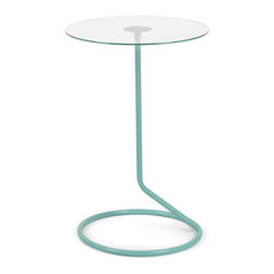 Modern Glass Side Table - This cute and simple table defies gravity with its slender steel base and single leg. The bright aqua finish makes it a real stunner—just the right piece for a well-rounded living room.