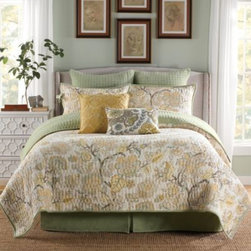 B. Smith - B. Smith Callisto Quilt - B. Smith's Callisto Bedding Collection combines light earth tone colors with a sophisticated look. Featuring a beautifully decorated leaf motif, this collection is sure to bring a naturistic feel to any bedroom.