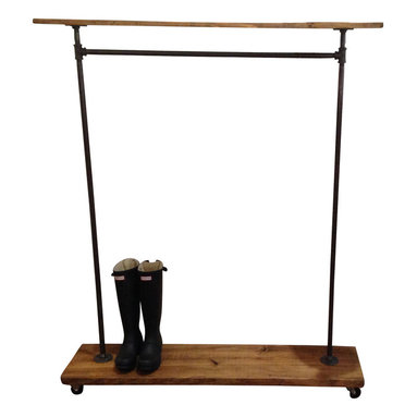 Urban Industrial Garment Rack with Top Shelf - This garment rack is built from recycled iron piping and reclaimed wood. It will add a touch of class to a loft, office, rustic style home decor or an industrial space.
