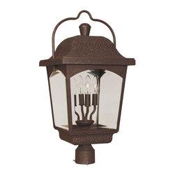 World Imports - Ayrs 4-Light Outdoor Post Lantern, Bronze - Bronze finish