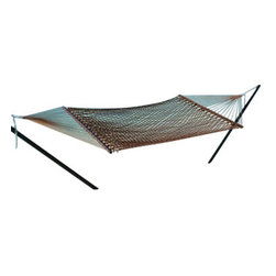 Classic Caribbean Style Mocha Brown Rope Hammock w/ Wood Spreaders - Caribbean Rope Hammocks are the classic hammock style. This beautiful mocha brown Caribbean rope hammock is hand woven from soft spun polyester. Unlike similar cotton rope hammocks, it will not rot, mold or mildew. 8mm triple ply rope is used for extra durability. The hardwood spreader bars have multiple coats of marine varnish to protect them from the elements and is a full 55 inches wide giving plenty of room for 2 adults. This hammock is easy to hang from any 2 points 12ft or more apart. NOTE: It does not come with stand or mounting hardware.