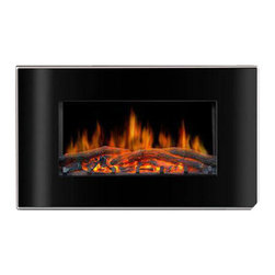 "Lofty - Valencia Wall Mount Electric Fireplace - Lofty Valencia BG03CB Flat Face Wall Mount Electric Fireplace with Led wall mount design.  Curved tempered glass front panel.  Realistic flame effect.  Adjustable flame brightness.  Safety thermal cut-off device.  750W and 1500W heat settings.  Includes remote control, hook, anchors, stator.  Dimensions: 4.53"" x 32.28"" x 20.47""."
