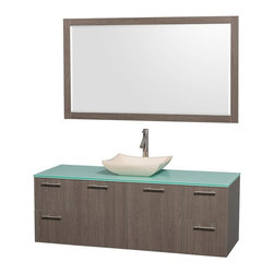 Wyndham Collection - 60 in. Contemporary Single Sink Vanity Set - Includes sink, green glass top, mirror, drain assemblies and P-traps for easy assembly. Faucet not included. Square ivory marble sink. Two functional doors. Concealed soft close door hinges. Modern brushed chrome door pulls. Unique and striking contemporary design. Four functional drawers. Fully-extending soft-close drawer slides. Deep doweled drawers. Single-hole faucet mount. Plenty of storage space. Eight-stage preparation, veneering and finishing process. Highly water-resistant low V.O.C. sealed finish. Metal exterior hardware with brushed chrome finish. Wall-mount design. Mirror glass thickness: 0.75 in.. Warranty: Two years limited. Made from beautiful veneers over highest quality grade E1 MDF. Gray oak finish. Door: 17.25 in. W x 20.5 in. H. Drawer: 12.63 in. W x 10.13 in. H. Mirror: 58 in. W x 33 in. H (40 lbs.). Vanity: 60 in. W x 22.25 in. D x 21.25 in. H (124 lbs.). Handling Instructions. Installation Instructions - Mirror. Installation Instructions - VanityModern clean lines and a truly elegant design aesthetic meet affordability in the Wyndham Collection Amare Vanity. Each vanity provides a full complement of storage areas behind sturdy soft-close doors and drawers. A wall-mounted vanity leaves space in your bathroom for you to relax. The simple clean lines of the Amare wall-mounted vanity family are no-fuss and all style.