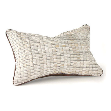 Woven Cowhide Pillow - Delicious pillow in white cowhide, back in caramel leather, medium-fill feather and down insert, hidden zipper. The cowhide is cut into thin strips and woven on a loom much like fabric.