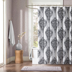 ID-Intelligent Designs - Intelligent Design Sydney Black Damsk Print Shower Curtain - Sydney is the perfect way to make a fashion statement in your bathroom. The large black and gray damask print creates a dramatic look with this comforter. The reverse is a solid black.
