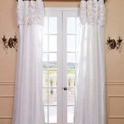 Eggshell Ruched Faux Solid Taffeta Curtain - We've taken our popular Faux Silk Taffeta panels and added a ruched header valance creating the most luxurious, over the top style in window treatments out there. This style was designed and meant to be stationary and used as decorative panels to frame out your window.