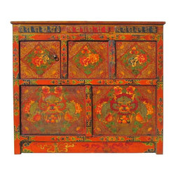 "Golden Lotus - Tibetan Dragon & Peony Flower Graphic Wooden Cabinet Altar Table - You are looking at a unique Tibetan dragons & peony flowers graphic wooden cabinet. There are two compartments separated by 3 doors. This is the traditional "" No Nails"" design with art works hand painting."