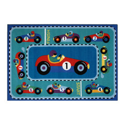 "Fun Rugs - Vroom Olive Kids Collection Rug - 39"" x 58"" - This colorful rug has vroom design Collection Name: Olive Kids; 100% Nylon Dimensions: 39"" x 58"""
