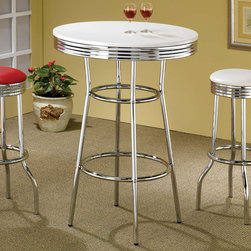 Coaster - Bar Table in Silver - 50's soda fountain bar table in retro chrome with a white table top.