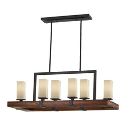 Feiss - Feiss F2592/6AF/AGW Madera 6 Light Antique Forged Iron Chandelier - Finish: Antique Forged Iron / Aged Walnut