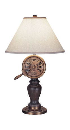 Mario Industries - Mario Industries Lamps Captains Telegraph 32 in. Table Lamp 96T306 - Shop for Lighting & Ceiling Fans at The Home Depot. The Mario Industries Captains Telegraph 32 in. Table Lamp features a beautiful nautical motif with a moveable telegraph face and brown wood-like body. Sits atop a round aged gold base. It features a 6 ft. cord and 3-way switch which allows you to control the level of brightness. Textured cream linen shade and matching ball finial complete the look
