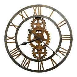 Howard Miller - Crosby Wall Clock in Warm Gray Iron - This 30 in. diameter metal gallery clock with applied Roman numerals and cast metal gears. Gears on the clock are just for decor. They do not turn. The inner and outer rings and spade hands are finished in a warm Gray Iron. Features Antique Brass finished gears and numerals. Quartz, battery operated movement requires one AA battery (not included). 30 in. Dia. x 2 1/4 in. D