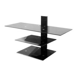 """AVF Group - TV and AV Shelving System - Wall Mounted Glass Shelving System for TV Screens up to 50""""."""
