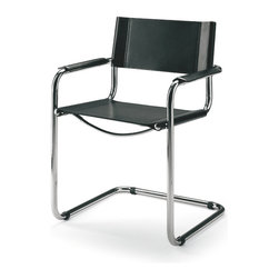 Matrix International - STAM Arm Chair - This cantilever chair is a simplification of a 1929 design by Stam and Breuer. The continuous tube which forms the base and arms also serves to separate the back uprights. The seat, back and arms are black heavy leather straps. The frame is constructed of heavy gauge chrome-plated tubular steel with welded endcaps. This is a very good Italian reproduction not a cheap copy. It is comparable in quality to the licensed version of the chair.