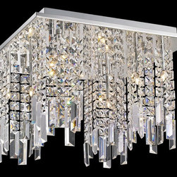 Lite Source - Lite Source EL-50116 Helanie Modern / Contemporary Flush Mount Ceiling Light - Delicate panel crystal shades feature staggered prism curtain with modern chrome finish metal frame brings an exquisite illumination to any setting.