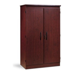 Wooden Locking Storage Cabinet - This all-purpose Storage Cabinet provides numerous safe-keeping options. It includes three adjustable shelves behind its sleek doors with black pulls. This cabinet is perfect for a bedroom, rec room, or even in the garage. Crafted of wood with a cherry finish. This cabinet easily assembles with a screwdriver. About South Shore FurnitureA recognized leader in North American furniture manufacture, South Shore Industries was established in 1940 and has been making furniture for three generations. Employing a team of over 1,000 employees in three factories in Quebec, their assembled and ready-to-assemble furniture has a reputation for quality and excellence at affordable prices for today's family. A Green ChoiceAll South Shore Industries products are made of laminated engineered wood, which gives them great strength and durability. Wood panels are made entirely from recovered and recycled material. While South Shore makes every effort to preserve the environment by conserving our forests, they make no compromise when it comes to quality and product durability. Their products are designed for easy maintenance and offered at very competitive prices.