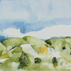 Late 20th C. Abstracted Watercolor Summer Landscape by Alysanne McGaffey