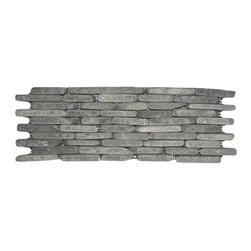 "CNK Tile - Grey Standing Mosaic Tile - Each stone is carefully selected and hand-sorted according to color, size and shape in order to ensure the highest quality pebble tile available.  The stones are attached to a sturdy mesh backing using non-toxic, environmentally safe glue.  Because of the unique pattern in which our tile is created they fit together seamlessly when installed so you can't tell where one tile ends and the next begins!     Usage:    Shower walls, bathroom walls, general wall covering, backsplashes, swimming pools, patios, fireplaces and more.  Interior & exterior. Commercial & residential.     Details:     Sheet Backing: Mesh   Sheet Dimensions: 4"" x 12""   Pebble size: Approx 3/4"" to 2 1/2""   Thickness: Approx 3/8""   Finish: Natural Gray"