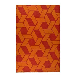 Safavieh - Handmade Thom Filicia Durston Blood Orange Outdoor Rug (4' x 6') - This indoor outdoor rug has an orange background and displays stunning panel colors of orange and red. This handwoven rug is made from recycled plastic bottles and resistant to mold,mildew,sun,water and other elements.