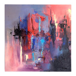 'Metro' Original Painting - Smoldering, torrid and fiery — this piece captures your attention and won't let go. Turn up the heat in your living room with this markedly urban composition and let the conversations begin.