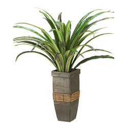Home Decorators Collection - Dracaean in Square Wooden Planter - Bring this beautiful faux plant life into your home, and enjoy the tropical effect it has on any space. With lifelike colors, textures and a beautiful wooden planter, this piece is sure to become a favorite part of your home decor for years to come. Place your order today. Made of durable synthetic materials for years of lasting beauty. Meticulously crafted to create realistic, lifelike beauty.
