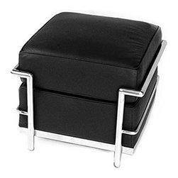 Fine Mod Imports - Cube Le Corbusier Black Leather Ottoman - Features: